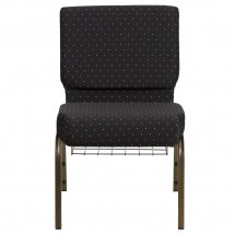 "Flash Furniture FD-CH0221-4-GV-S0806-BAS-GG HERCULES 21"" Extra Wide Black Dot Patterned Church Chair, Communion Cup Book Rack, Gold Vein Frame addl-2"