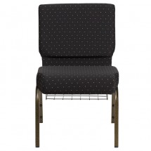 "Flash Furniture FD-CH0221-4-GV-S0806-BAS-GG HERCULES 21"" Extra Wide Black Dot Patterned Church Chair, Communion Cup Book Rack, Gold Vein Frame addl-3"