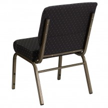"""Flash Furniture FD-CH0221-4-GV-S0806-GG HERCULES Series 21"""" Extra Wide Black Dot Patterned Stacking Church Chair - Gold Vein Frame addl-1"""