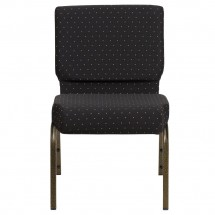 """Flash Furniture FD-CH0221-4-GV-S0806-GG HERCULES Series 21"""" Extra Wide Black Dot Patterned Stacking Church Chair - Gold Vein Frame addl-2"""