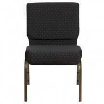 """Flash Furniture FD-CH0221-4-GV-S0806-GG HERCULES Series 21"""" Extra Wide Black Dot Patterned Stacking Church Chair - Gold Vein Frame addl-3"""