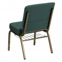 "Flash Furniture FD-CH0221-4-GV-S0808-BAS-GG HERCULES 21"" Extra Wide Hunter Green Dot Patterned Church Chair, Communion Cup Book Rack, Gold Vein Frame addl-1"