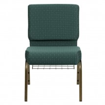 "Flash Furniture FD-CH0221-4-GV-S0808-BAS-GG HERCULES 21"" Extra Wide Hunter Green Dot Patterned Church Chair, Communion Cup Book Rack, Gold Vein Frame addl-2"