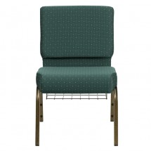 "Flash Furniture FD-CH0221-4-GV-S0808-BAS-GG HERCULES 21"" Extra Wide Hunter Green Dot Patterned Church Chair, Communion Cup Book Rack, Gold Vein Frame addl-3"