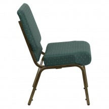 Flash Furniture FD-CH0221-4-GV-S0808-GG HERCULES Series 21 Extra Wide Hunter Green Dot Patterned Stacking Church Chair - Gold Vein Frame addl-4