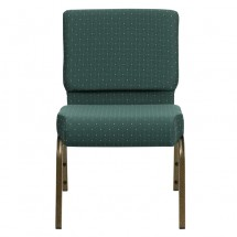 "Flash Furniture FD-CH0221-4-GV-S0808-GG HERCULES Series 21"" Extra Wide Hunter Green Dot Patterned Stacking Church Chair - Gold Vein Frame addl-3"