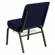 "Flash Furniture FD-CH0221-4-GV-S0810-BAS-GG HERCULES 21"" Extra Wide Navy Blue Dot Patterned Church Chair, Communion Cup Book Rack, Gold Vein Frame addl-1"