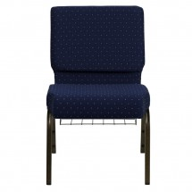 "Flash Furniture FD-CH0221-4-GV-S0810-BAS-GG HERCULES 21"" Extra Wide Navy Blue Dot Patterned Church Chair, Communion Cup Book Rack, Gold Vein Frame addl-2"