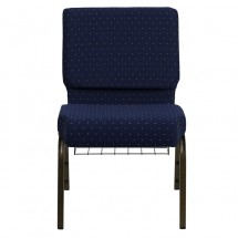 "Flash Furniture FD-CH0221-4-GV-S0810-BAS-GG HERCULES 21"" Extra Wide Navy Blue Dot Patterned Church Chair, Communion Cup Book Rack, Gold Vein Frame addl-3"