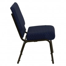 Flash Furniture FD-CH0221-4-GV-S0810-GG HERCULES Series 21 Extra Wide Navy Blue Dot Patterned Stacking Church Chair - Gold Vein Frame addl-4