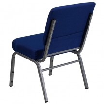 "Flash Furniture FD-CH0221-4-SV-NB24-GG HERCULES Series 21"" Extra Wide Navy Blue Stacking Church Chair - Silver Vein Frame addl-1"