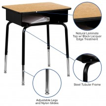 Flash Furniture FD-DESK-GG Student Desk with Open Front Metal Book Box addl-2
