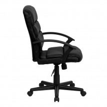 Flash Furniture GO-1004-BK-LEA-GG Mid-Back Black Leather Task Chair addl-1