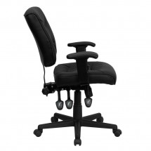 Flash Furniture GO-1574-BK-A-GG Mid-Back Black Leather Multi-Functional Task Chair with Height Adjustable Arms addl-1
