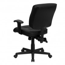 Flash Furniture GO-1574-BK-A-GG Mid-Back Black Leather Multi-Functional Task Chair with Height Adjustable Arms addl-2