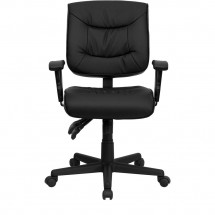 Flash Furniture GO-1574-BK-A-GG Mid-Back Black Leather Multi-Functional Task Chair with Height Adjustable Arms addl-3