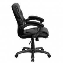 Flash Furniture GO-724M-MID-BK-LEA-GG Mid-Back Black Leather Overstuffed Office Chair addl-1