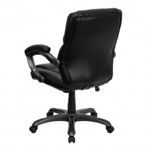 Flash Furniture GO-724M-MID-BK-LEA-GG Mid-Back Black Leather Overstuffed Office Chair addl-2