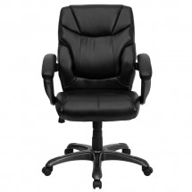 Flash Furniture GO-724M-MID-BK-LEA-GG Mid-Back Black Leather Overstuffed Office Chair addl-3