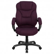 Flash Furniture GO-725-GRPE-GG High Back Grape Microfiber Upholstered Contemporary Executive Chair addl-3