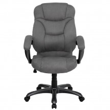 Flash Furniture GO-725-GY-GG High Back Gray Microfiber Upholstered Contemporary Executive Chair addl-3