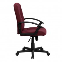 Flash Furniture GO-ST-6-BY-GG Mid-Back Burgundy Fabric Task and Executive Chair with Nylon Arms addl-1