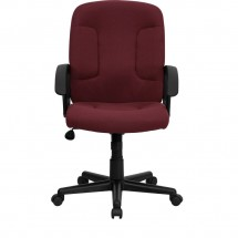 Flash Furniture GO-ST-6-BY-GG Mid-Back Burgundy Fabric Task and Executive Chair with Nylon Arms addl-3