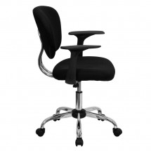 Flash Furniture H-2376-F-BK-ARMS-GG Mid-Back Black Mesh Task Chair with Arms addl-1