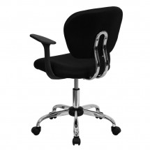 Flash Furniture H-2376-F-BK-ARMS-GG Mid-Back Black Mesh Task Chair with Arms addl-2