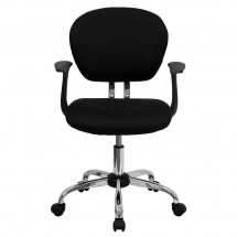 Flash Furniture H-2376-F-BK-ARMS-GG Mid-Back Black Mesh Task Chair with Arms addl-3