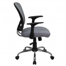 Flash Furniture H-8369F-GY-GG Mid-Back Gray Mesh Office Chair addl-1