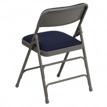 Flash Furniture HA-MC309AF-NVY-GG HERCULES Series Curved Triple Braced and Quad Hinged Fabric Upholstered Metal Folding Chair - Navy addl-2