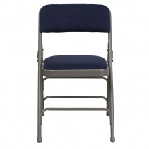 Flash Furniture HA-MC309AF-NVY-GG HERCULES Series Curved Triple Braced and Quad Hinged Fabric Upholstered Metal Folding Chair - Navy addl-3