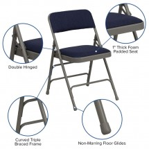 Flash Furniture HA-MC309AF-NVY-GG HERCULES Series Curved Triple Braced and Quad Hinged Fabric Upholstered Metal Folding Chair - Navy addl-5