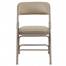Flash Furniture HA-MC309AV-BGE-GG HERCULES Series Curved Triple Braced and Quad Hinged Vinyl Upholstered Metal Folding Chair - Beige addl-3