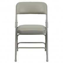 Flash Furniture HA-MC309AV-GY-GG HERCULES Series Curved Triple Braced and Quad Hinged Vinyl Upholstered Metal Folding Chair Gray addl-3
