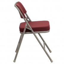 Flash Furniture HA-MC320AF-BG-GG HERCULES Series Premium Curved Triple Braced and Quad Hinged Fabric Upholstered Metal Folding Chair - Burgundy addl-1