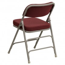 Flash Furniture HA-MC320AF-BG-GG HERCULES Series Premium Curved Triple Braced and Quad Hinged Fabric Upholstered Metal Folding Chair - Burgundy addl-2