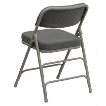 Flash Furniture HA-MC320AF-GRY-GG HERCULES Series Premium Curved Triple Braced and Quad Hinged Fabric Upholstered Metal Folding Chair - Gray addl-2