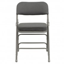 Flash Furniture HA-MC320AF-GRY-GG HERCULES Series Premium Curved Triple Braced and Quad Hinged Fabric Upholstered Metal Folding Chair - Gray addl-3