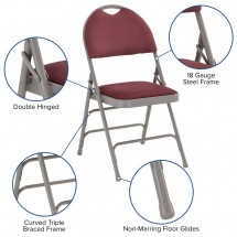 Flash Furniture HA-MC705AF-3-BY-GG HERCULES Series Extra Large Ultra-Premium Triple Braced Folding Chair - Burgundy addl-5