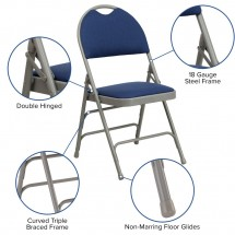 Flash Furniture HA-MC705AF-3-NVY-GG HERCULES Series Extra Large Ultra-Premium Triple Braced Metal Folding Chair - Navy addl-5