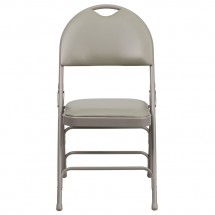 Flash Furniture HA-MC705AV-3-GY-GG HERCULES Series Extra Large Ultra-Premium Triple Braced Vinyl Metal Folding Chair - Gray addl-3