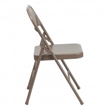Flash Furniture HF3-MC-309AS-BGE-GG HERCULES Series Triple Braced and Quad Hinged Beige Metal Folding Chair addl-1