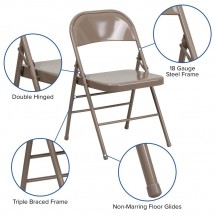 Flash Furniture HF3-MC-309AS-BGE-GG HERCULES Series Triple Braced and Quad Hinged Beige Metal Folding Chair addl-5