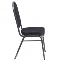Flash Furniture HF-C01-SV-E26-BK-GG HERCULES Series Crown Back Stacking Banquet Chair with Black Patterned Fabric addl-1