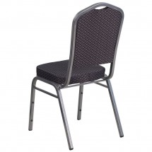 Flash Furniture HF-C01-SV-E26-BK-GG HERCULES Series Crown Back Stacking Banquet Chair with Black Patterned Fabric addl-2