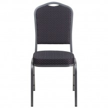 Flash Furniture HF-C01-SV-E26-BK-GG HERCULES Series Crown Back Stacking Banquet Chair with Black Patterned Fabric addl-3