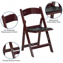 Flash Furniture LE-L-1-MAH-GG HERCULES Series Red Mahogany Resin Folding Chair with Black Vinyl Padded Seat addl-5