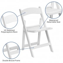 Flash Furniture LE-L-1-WHITE-GG HERCULES Series White Resin Folding Chair with White Vinyl Padded Seat addl-5